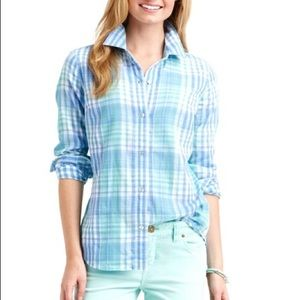 Vineyard Vines Villa Blue Plaid Button Down Top